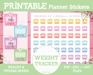 Printable Motivational Weight Trackers - Health & Fitness Planner Stickers - Miso Art Cafe