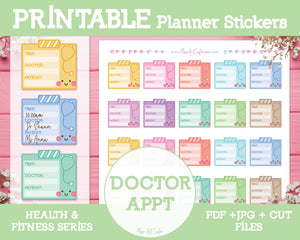 Printable Doctor Appointments - Health & Fitness Planner Stickers - Miso Art Cafe
