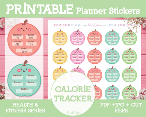 Printable Calorie Trackers - Health & Fitness Planner Stickers - Miso Art Cafe