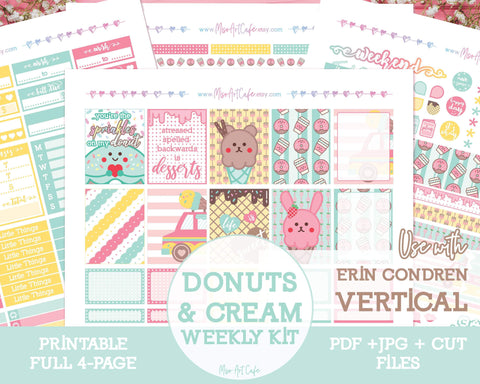 Printable Donuts & Cream Weekly Kit - Erin Condren Vertical - Miso Art Cafe