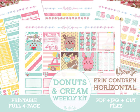 Printable Donuts & Cream Weekly Kit - Erin Condren Horizontal - Miso Art Cafe