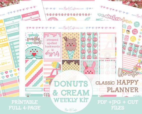 Printable Donuts & Cream Weekly Kit - Classic Happy Planner - Miso Art Cafe