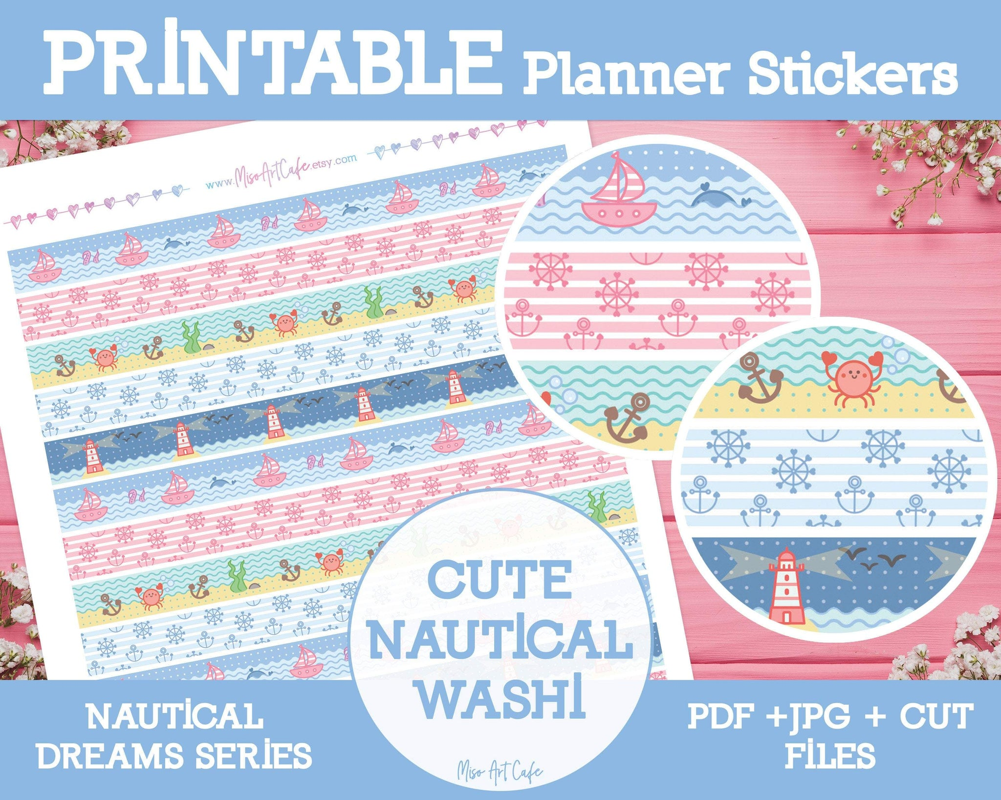 Printable Cute Nautical Pattern Washi Tape - Nautical Dreams Planner Stickers - Miso Art Cafe