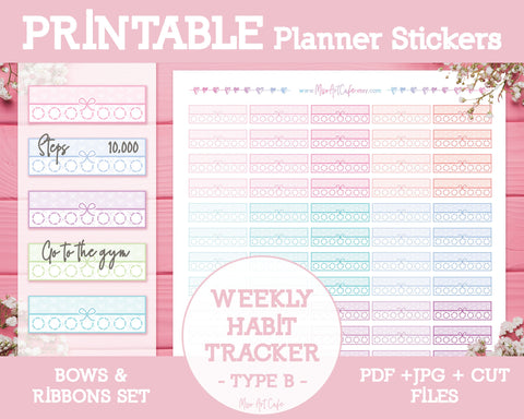 Printable Weekly Habit Trackers - Bows & Ribbons Planner Stickers - Miso Art Cafe Stickers for Planners