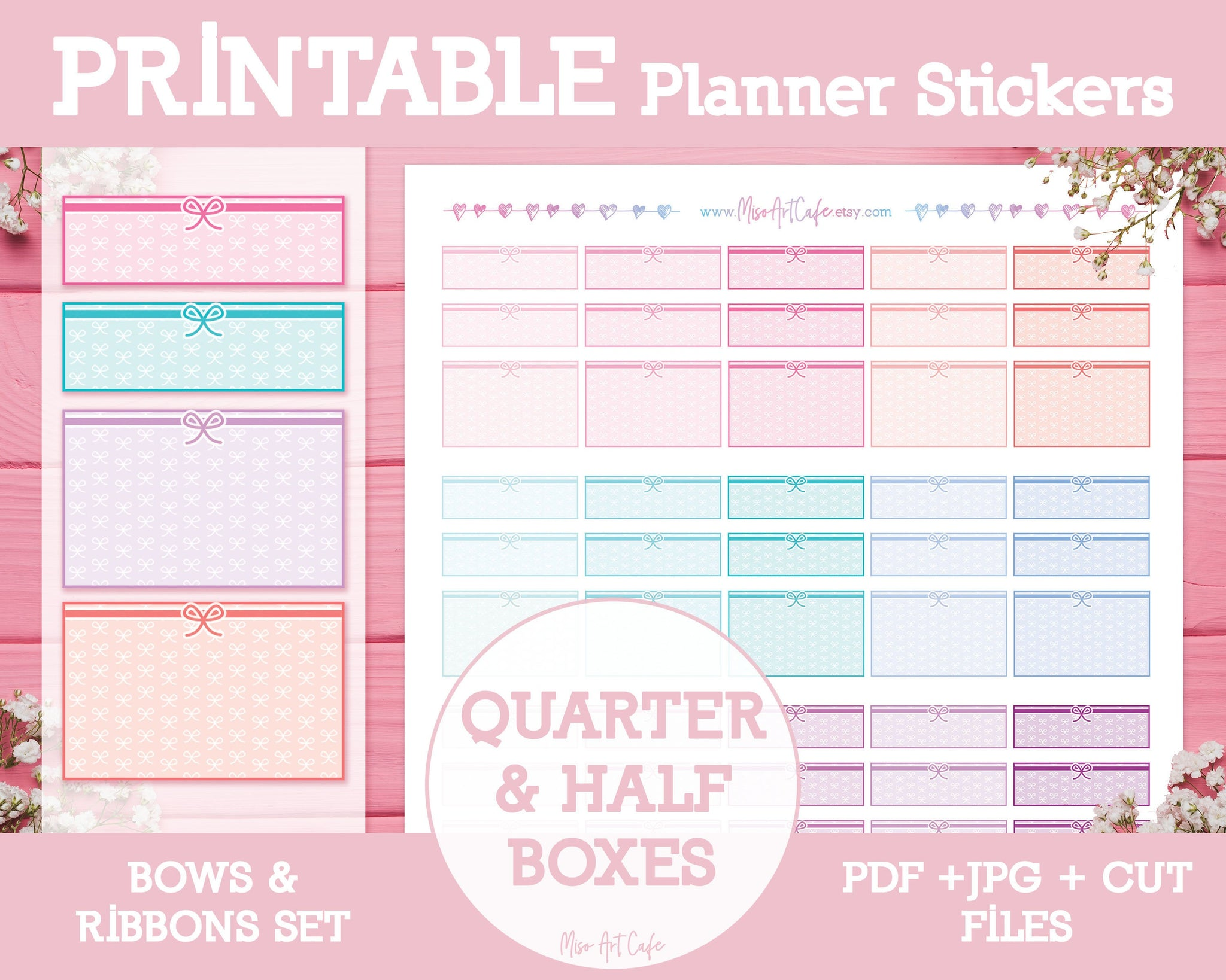 Printable Quarter & Half Functional Planner Boxes - Bows & Ribbons Stickers - Miso Art Cafe Stickers for Planners