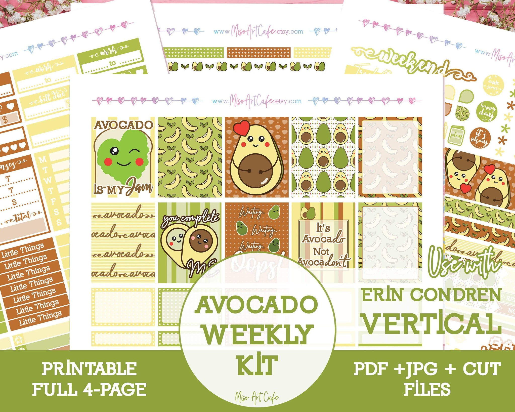 Printable Avocado Weekly Kit - Erin Condren Vertical - Miso Art Cafe