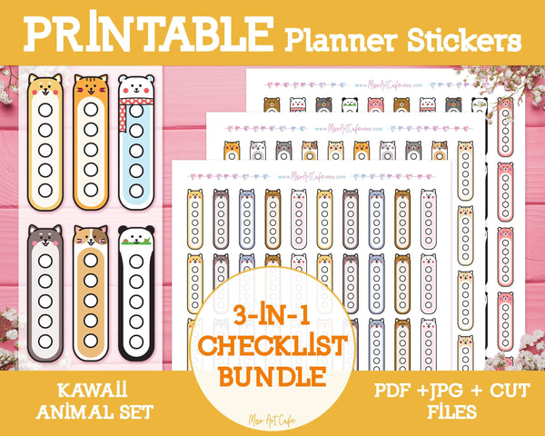 Printable 3-in-1 Animal Checklists - Kawaii Animal Planner Stickers - Miso Art Cafe