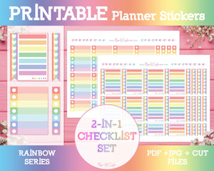 Printable 2-in-1 Checklists - Rainbow Planner Stickers - Miso Art Cafe