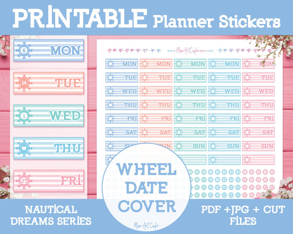 Printable Nautical Wheel Date Covers - Nautical Dreams Planner Stickers - Miso Art Cafe