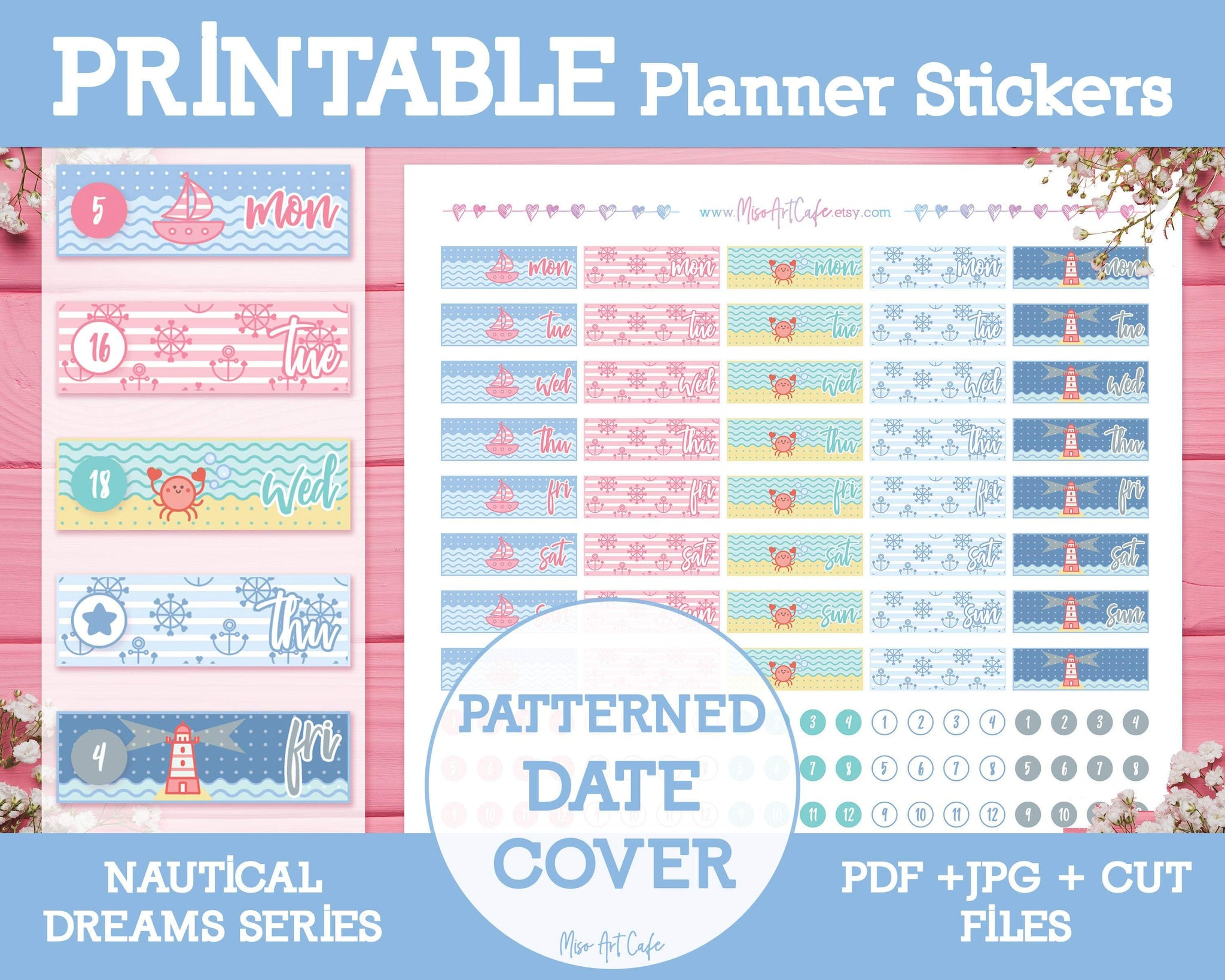 Printable Date Covers - Nautical Dreams Planner Stickers - Miso Art Cafe
