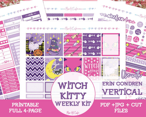 Printable Witch Kitty Weekly Kit - Erin Condren Vertical - Miso Art Cafe