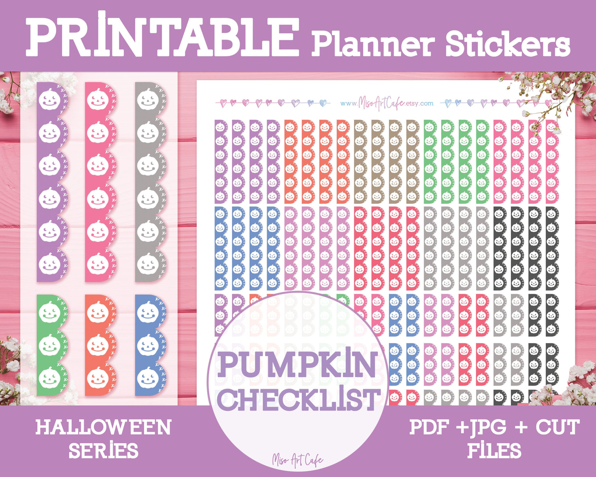 Printable Pumpkin Checklists - Halloween Planner Stickers - Miso Art Cafe Stickers for Planners