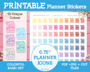 Printable Planner Icons - Colorful Basic Planner Stickers - Miso Art Cafe Stickers for Planners