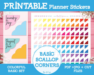 Printable Scallop Corners - Colorful Basic Planner Stickers - Miso Art Cafe