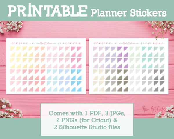 Printable Scallop Corners - Sweet Lace Planner Stickers - Miso Art Cafe Stickers for Planners