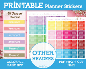 Printable Other Basic Headers - Colorful Basic Planner Stickers - Miso Art Cafe