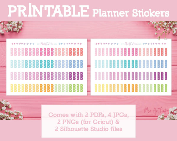Printable Bow Checklists (Hobo Ver) - Bows & Ribbons Planner Stickers - Miso Art Cafe