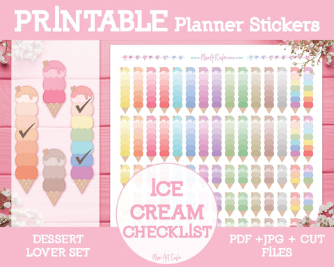 Printable Ice-Cream Checklists - Dessert Lover Planner Stickers - Miso Art Cafe