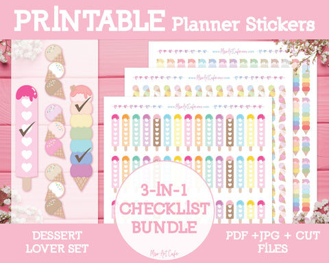 Printable 3-in-1 Dessert Checklists - Dessert Lover Planner Stickers - Miso Art Cafe
