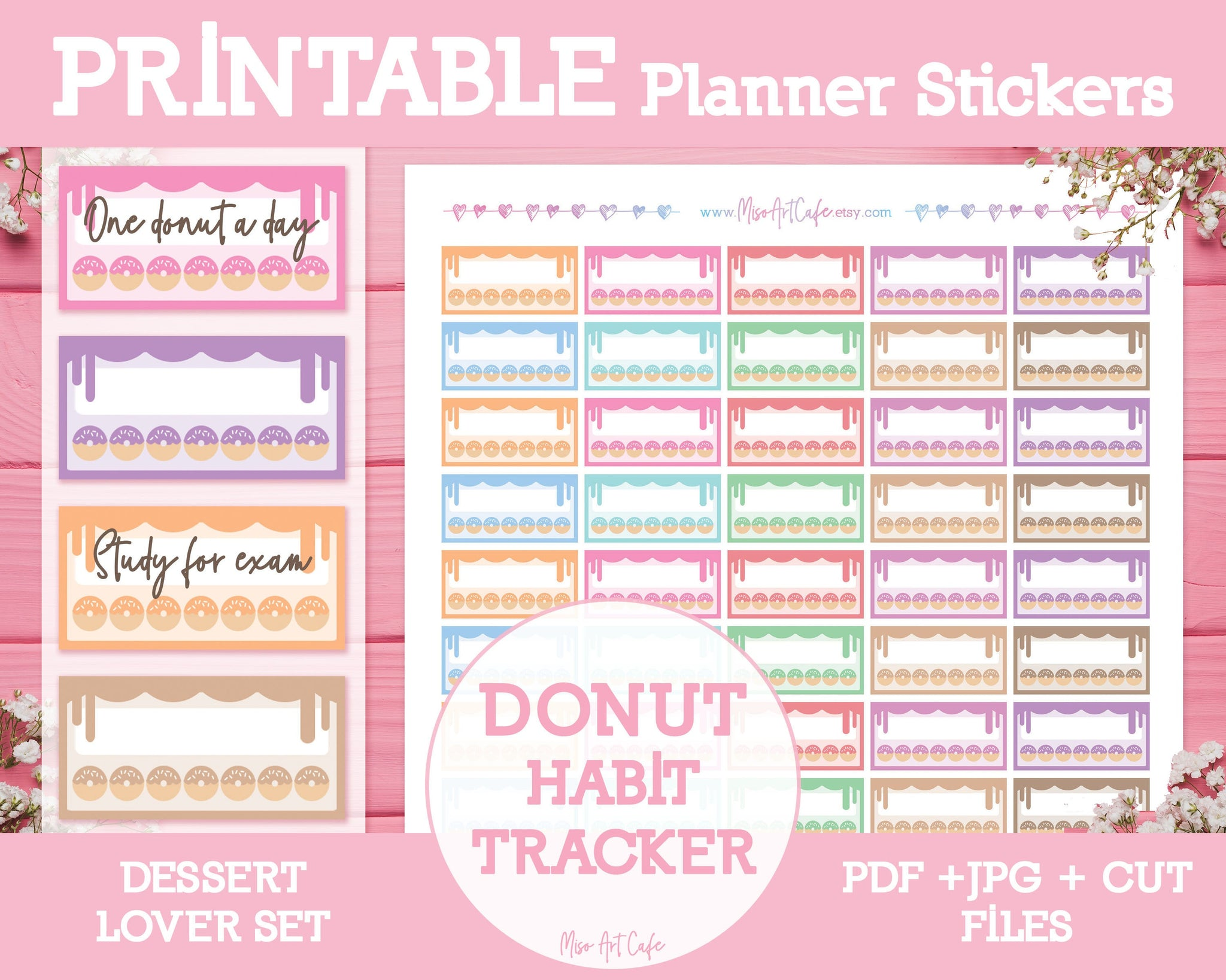 Printable Weekly Habit Trackers - Dessert Lover Planner Stickers - Miso Art Cafe Stickers for Planners