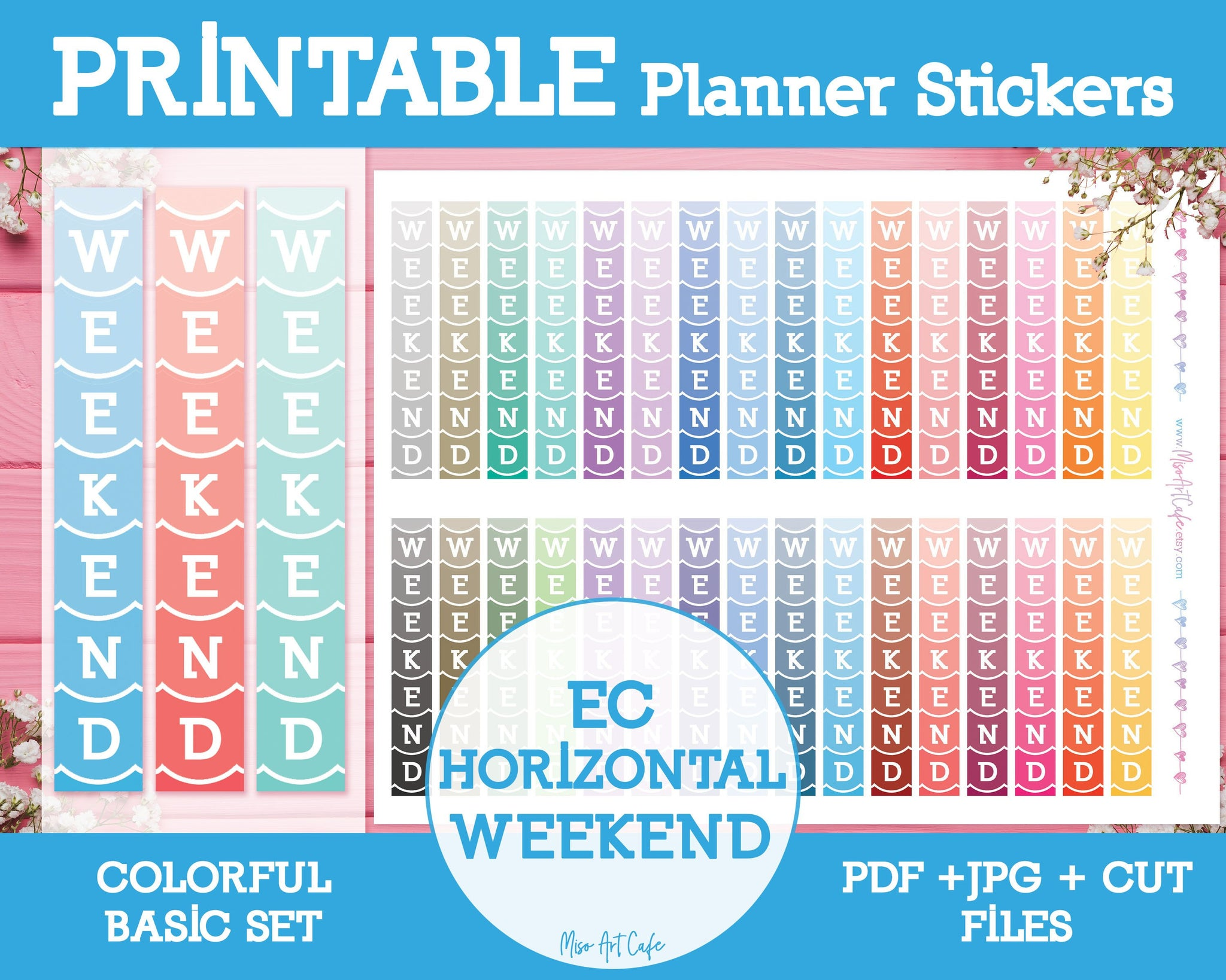 Printable EC Horizontal Weekend Banners - Colorful Basic Planner Stickers - Miso Art Cafe