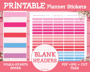 Printable Blank Headers - Polka Hearts Planner Stickers - Miso Art Cafe