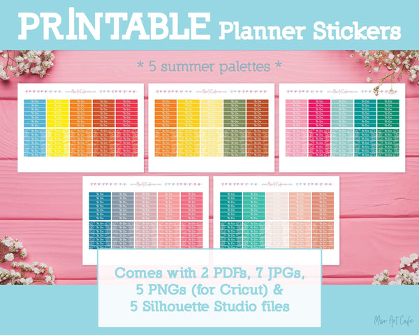 Printable 5-in-1 Summer Headers - Summer Vibes Planner Stickers - Miso Art Cafe