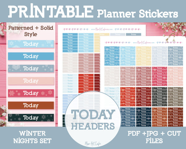 Printable Today Winter Headers - Winter Nights Planner Stickers - Miso Art Cafe