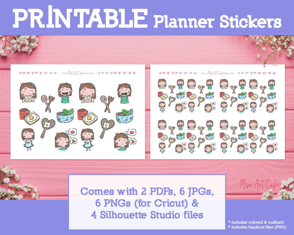 Printable Meal Doodles - Hand Drawn Planner Stickers - Miso Art Cafe