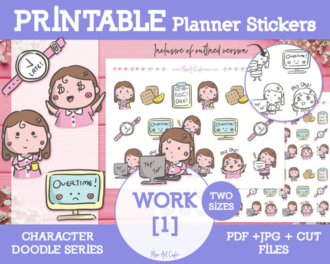 Printable Work Doodles - Hand Drawn Planner Stickers - Miso Art Cafe