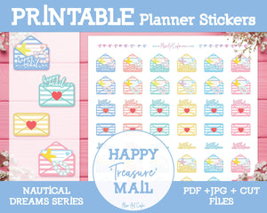 Printable Happy Mails - Nautical Dreams Planner Stickers - Miso Art Cafe