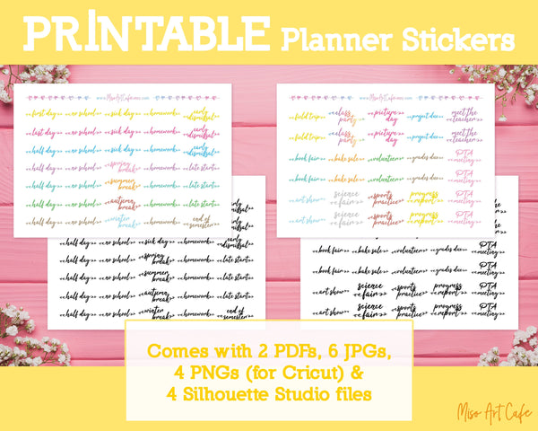 Printable School Event Scripts - School Days Planner Stickers - Miso Art Cafe Stickers for Planners