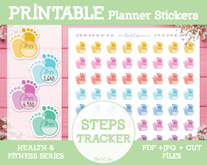 Printable Step Trackers - Health & Fitness Planner Stickers - Miso Art Cafe Stickers for Planners