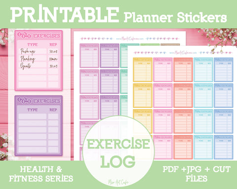 Printable Exercise Logs - Health & Fitness Planner Stickers - Miso Art Cafe