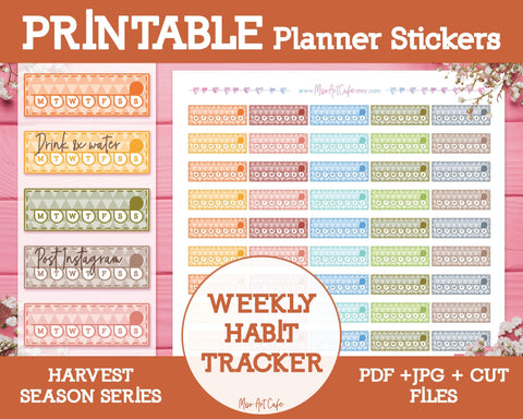 Printable Weekly Habit Trackers - Harvest Season Planner Stickers - Miso Art Cafe