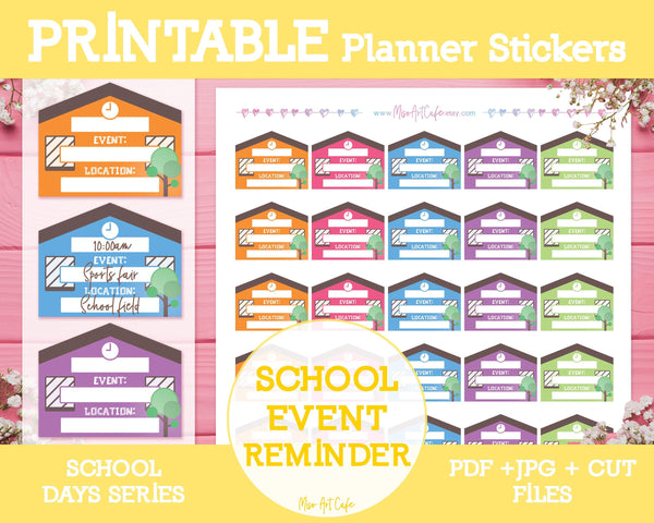 Printable School Event Reminders - School Days Planner Stickers - Miso Art Cafe