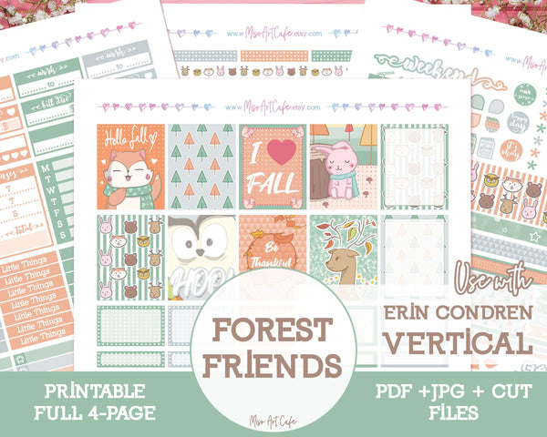 Printable Forest Friends Weekly Kit - Erin Condren Vertical - Miso Art Cafe