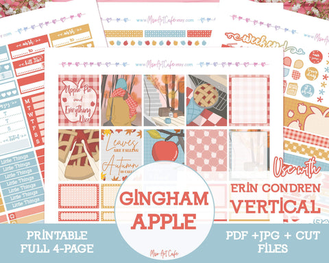 Printable Gingham Apple Weekly Kit - Erin Condren Vertical - Miso Art Cafe