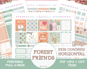 Printable Forest Friends Weekly Kit - Erin Condren Horizontal - Miso Art Cafe