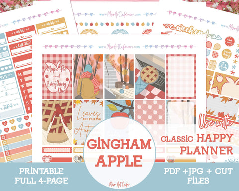 Printable Gingham Apple Weekly Kit - Classic Happy Planner - Miso Art Cafe