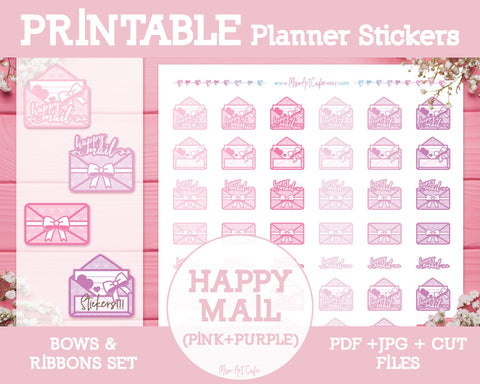 Printable Happy Mails - Bows & Ribbons Planner Stickers - Miso Art Cafe