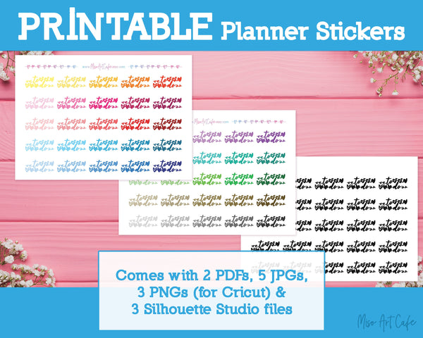 Printable To Do Scripts - Colorful Basic Planner Stickers - Miso Art Cafe Stickers for Planners