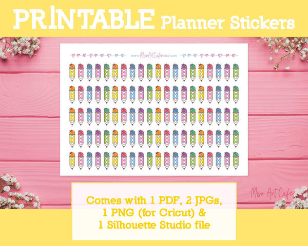 Printable Pencil Checklists (Hobo Ver) - School Days Planner Stickers - Miso Art Cafe