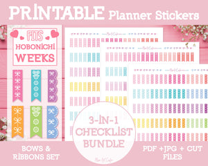 Printable 3-in-1 Bow Checklists (Hobo Ver) - Bows & Ribbons Planner Stickers - Miso Art Cafe