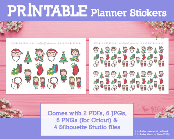 Printable Christmas Doodles - Hand Drawn Planner Stickers - Miso Art Cafe