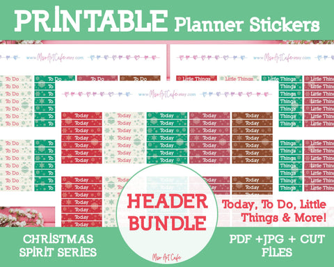 Printable 5-in-1 Christmas Headers - Christmas Spirit Planner Stickers - Miso Art Cafe