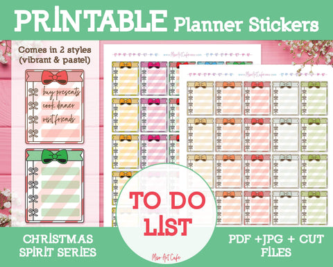 Printable Christmas To Do Lists - Christmas Spirit Planner Stickers - Miso Art Cafe
