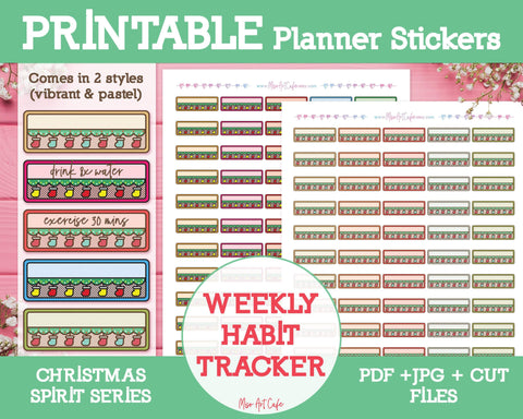 Printable Weekly Habit Trackers - Christmas Spirit Planner Stickers - Miso Art Cafe
