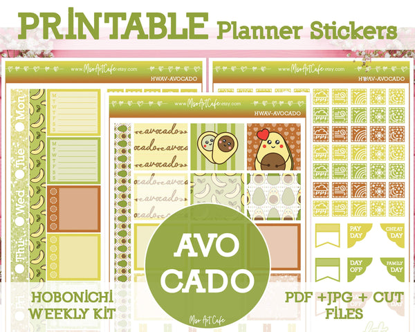 Printable Avocado Weekly Kit - Hobonichi Weeks - Miso Art Cafe