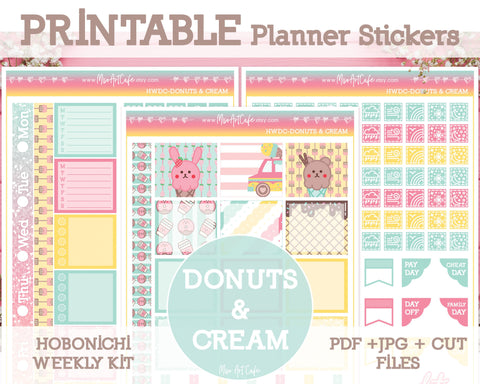 Printable Donuts & Cream Weekly Kit - Hobonichi Weeks - Miso Art Cafe